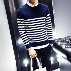 Men's Fashion Slim Fit Casual Round Neck Warm Knitted Sweater -