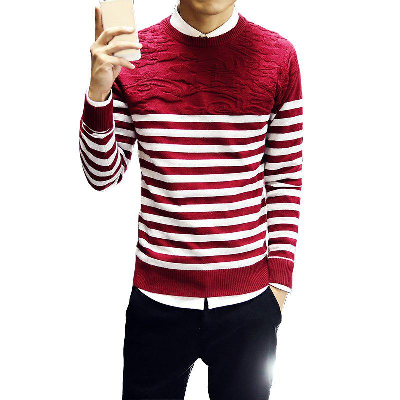 Buy Men's Fashion Slim Fit Casual Round Neck Warm Knitted Sweater