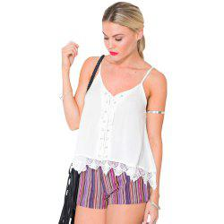 Europe and The United States New Lace Stitching Short Suspenders Sexy Cami Top -