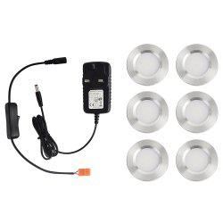 1600lm 3000K Warm White Super Bright LED Puck Light for Kitchen Closet 6PCS -