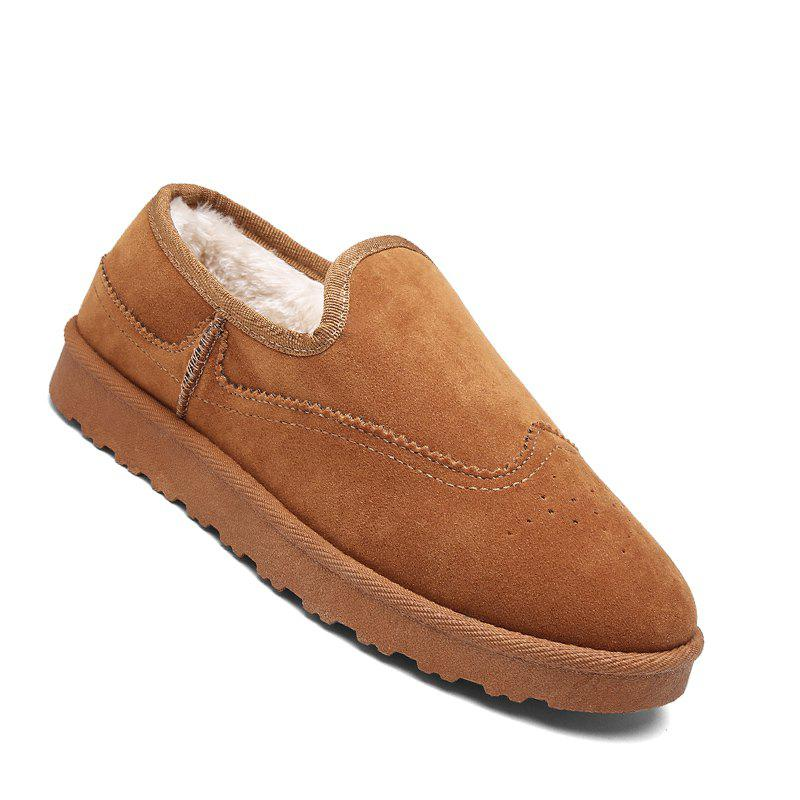 Online Men Casual Winter Warm Rubber Trend for Fashion Slip on Cotton Suede Shoes