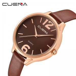 CUENA 6630P Women Fashion Genuine Leather Band Quartz Analog Wristwatch -