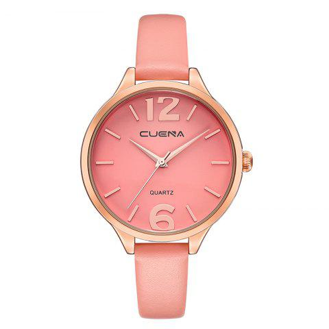 Unique CUENA 6630P Women Fashion Genuine Leather Band Quartz Analog Wristwatch