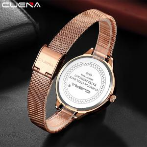 CUENA 6630G Women Fashion Stainless steel Watchband Quartz Wristwatch -
