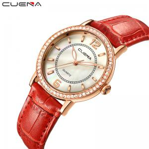 CUEAN 6626P Women Fashion Genuine Leather Band Quartz Wristwatch -