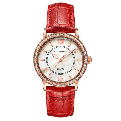 Affordable CUEAN 6626P Women Fashion Genuine Leather Band Quartz Wristwatch