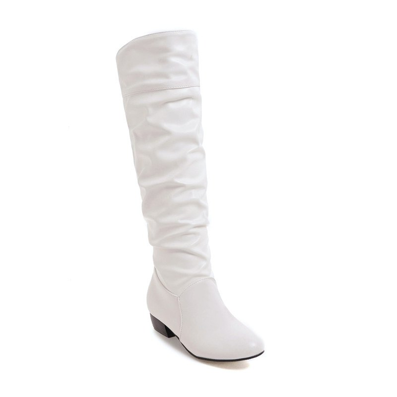 Female Round Toe Solid Knee High Boots Charming Women Shoes Girls Square Low Heel BootsSHOES &amp; BAGS<br><br>Size: 38; Color: WHITE; Gender: For Women; Boot Type: Fashion Boots; Season: Winter; Boot Height: Knee-High; Toe Shape: Round Toe; Heel Type: Low Heel; Boot Tube Circumference: 37; Boot Tube Height: 39; Heel Height Range: Low(0.75-1.5); Heel Height: 3; Pattern Type: Solid; Closure Type: Slip-On; Upper Material: PU; Weight: 1.2320kg; Package Contents: 1 x Shoes (pair);