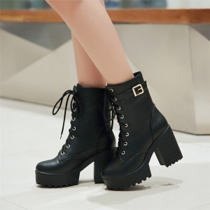 Lace Up Platform Chunky Heel Boots For Women -