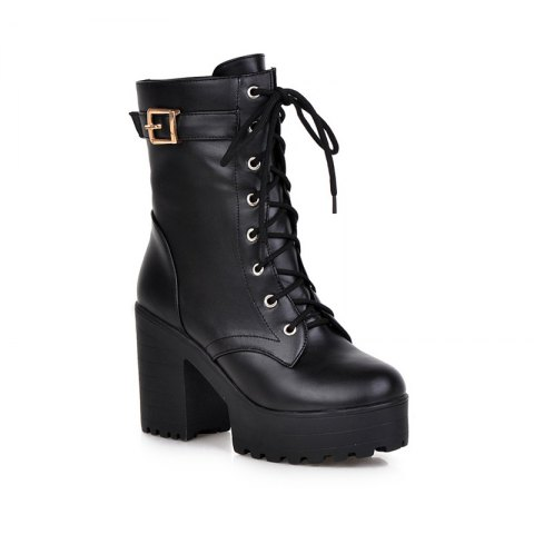Latest Lace Up Platform Chunky Heel Boots For Women