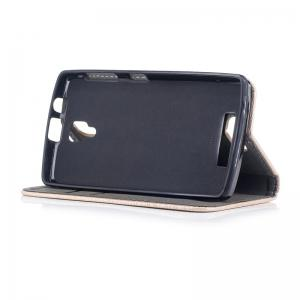 Wood Grain Flip Magnetic PU Leather Phone Cover Case for Lenovo A1000 -
