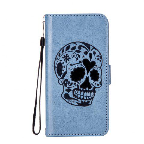 Chic For iPhone X Protection Holster The New Embossing Skeleton Head Set Flip Phone Cases with Stent