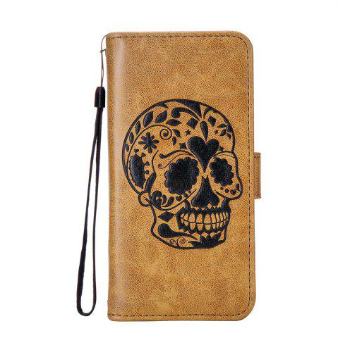 Outfit For iPhone X Protection Holster The New Embossing Skeleton Head Set Flip Phone Cases with Stent