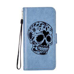 For iPhone X Protection Holster The New Embossing Skeleton Head Set Flip Phone Cases with Stent -