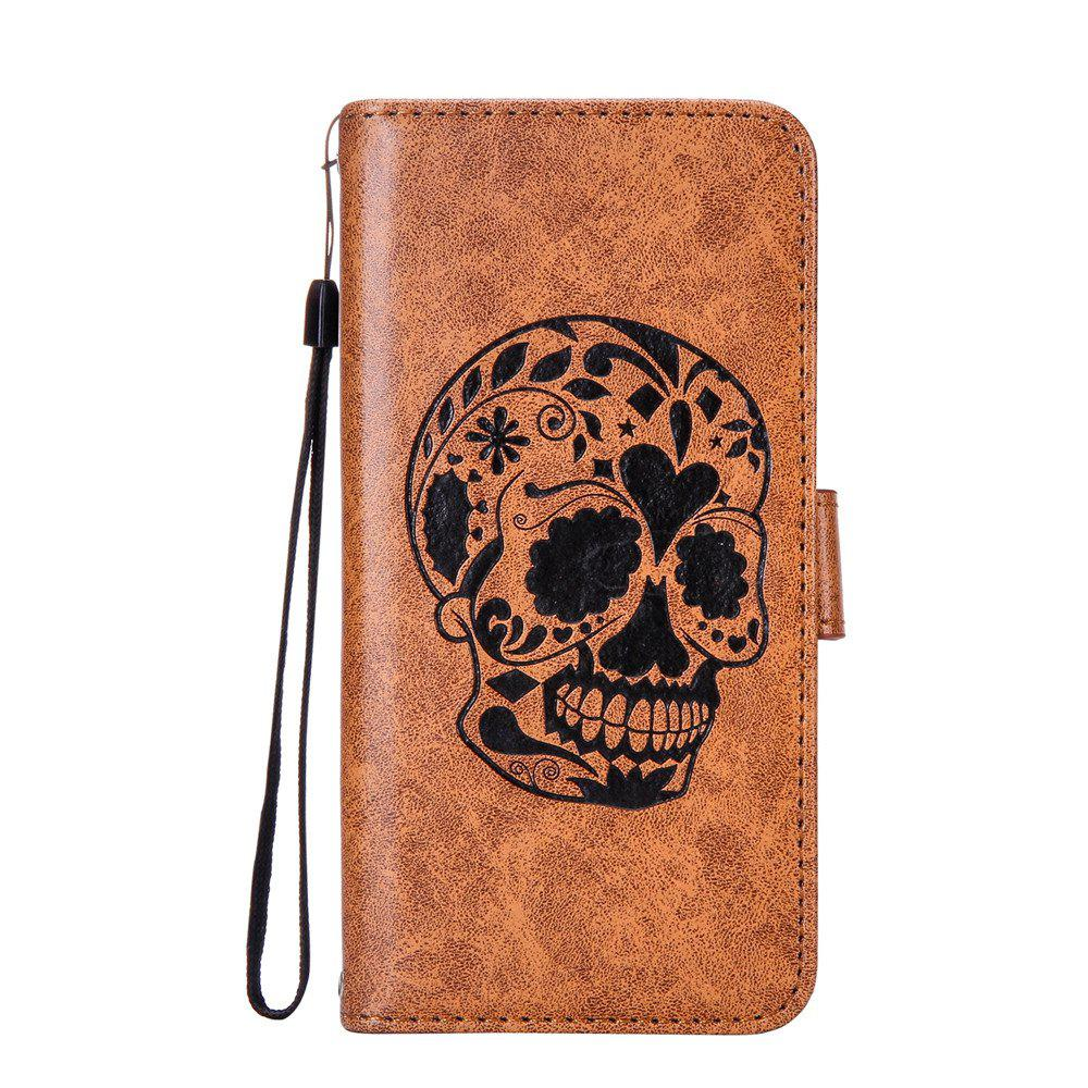 New For iPhone X Protection Holster The New Embossing Skeleton Head Set Flip Phone Cases with Stent