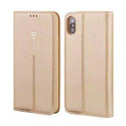 For iPhone X Leather Case Can Insert Card Holder Head Layer Cowhide Mobile Protection Shell Following From Gold Silkworm Series -