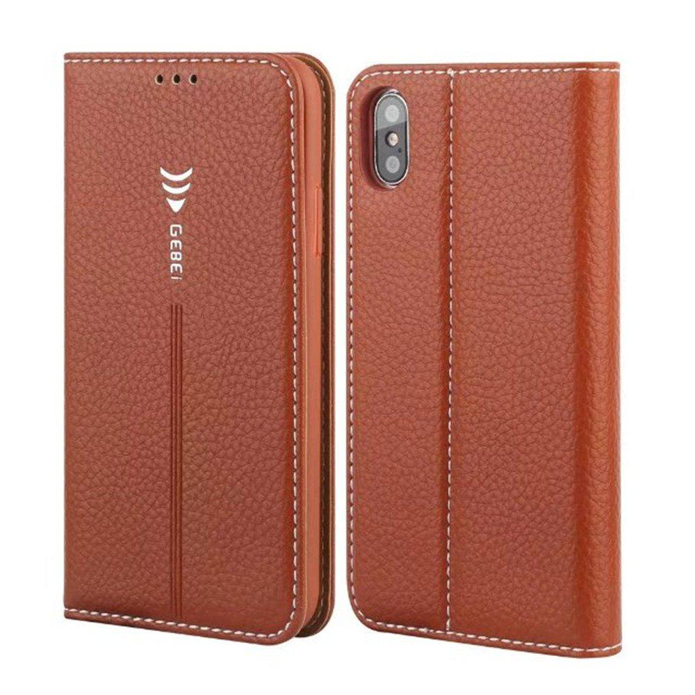 Sale For iPhone X Leather Case Can Insert Card Holder Head Layer Cowhide Mobile Protection Shell Following From Gold Silkworm Series