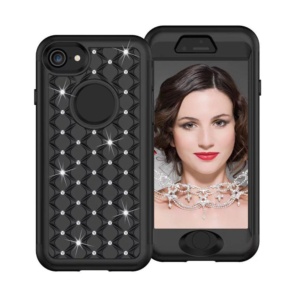 Affordable For iPhone 8 Classical Bling Star Glitter Diamond Armor Hybrid 360 Degree Body Cover