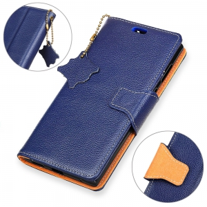 For iPhone X Case Cover Card Holder Wallet with Stand Full Body Solid Color Hard Genuine Leather -