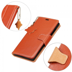 For iPhone 8 / 7 Case Cover Card Holder Wallet with Stand Full Body Solid Color Hard Genuine Leather -