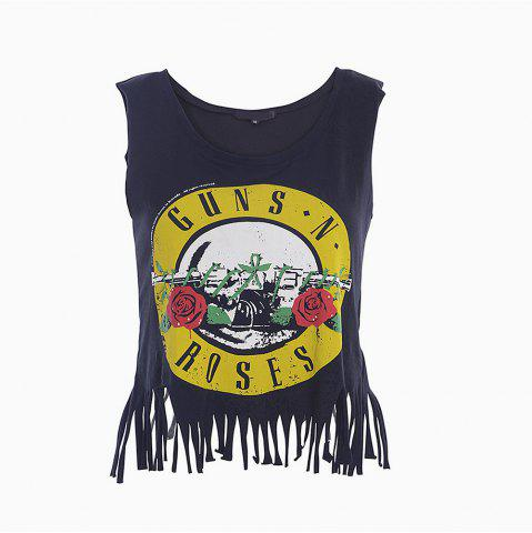 Outfits Women's Tank Top Floral Pattern Tassel Casual Top