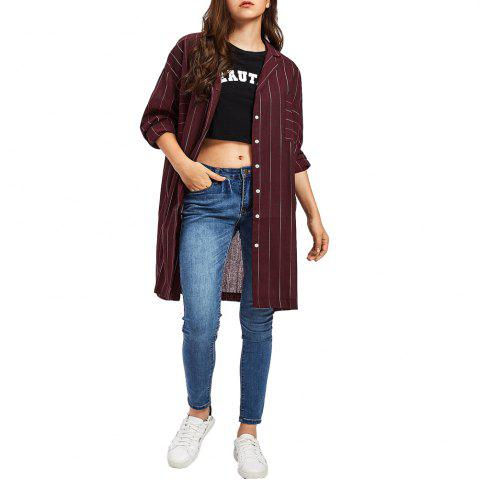 Affordable Women'S Shirt Cotton Loose Long-Sleeved Casual Stripe Shirt