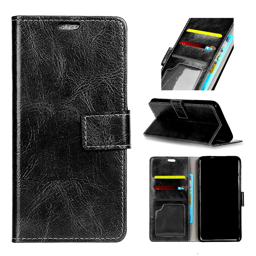 Store Genuine Quality Retro Style Crazy Horse Pattern Flip PU Leather Wallet Case for LG Q8