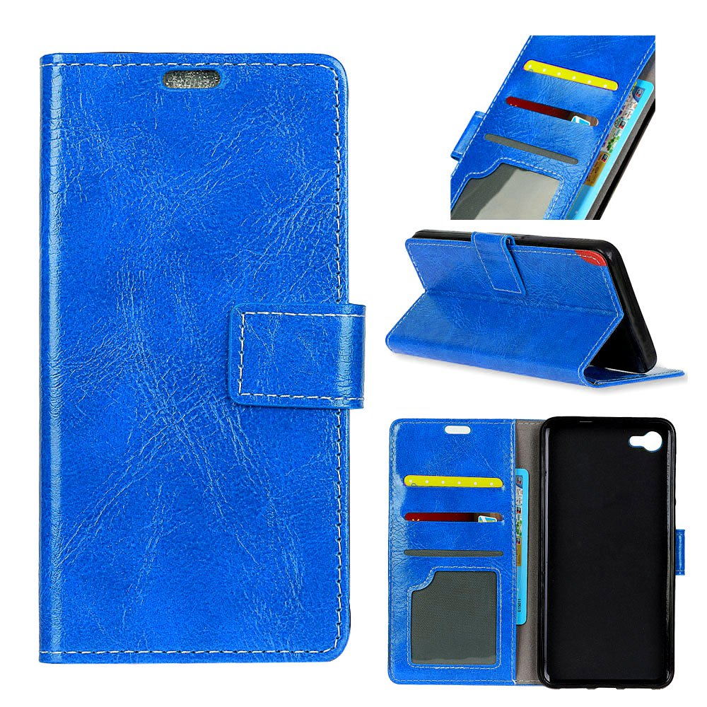 Discount Genuine Quality Retro Style Crazy Horse Pattern Flip PU Leather Wallet Case for LG Q8