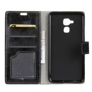 Genuine Quality Retro Style Crazy Horse Pattern Flip PU Leather Wallet Case for BQ V Plus -