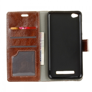 Genuine Quality Retro Style Crazy Horse Pattern Flip PU Leather Wallet Case for Xiaomi Redmi 4A -