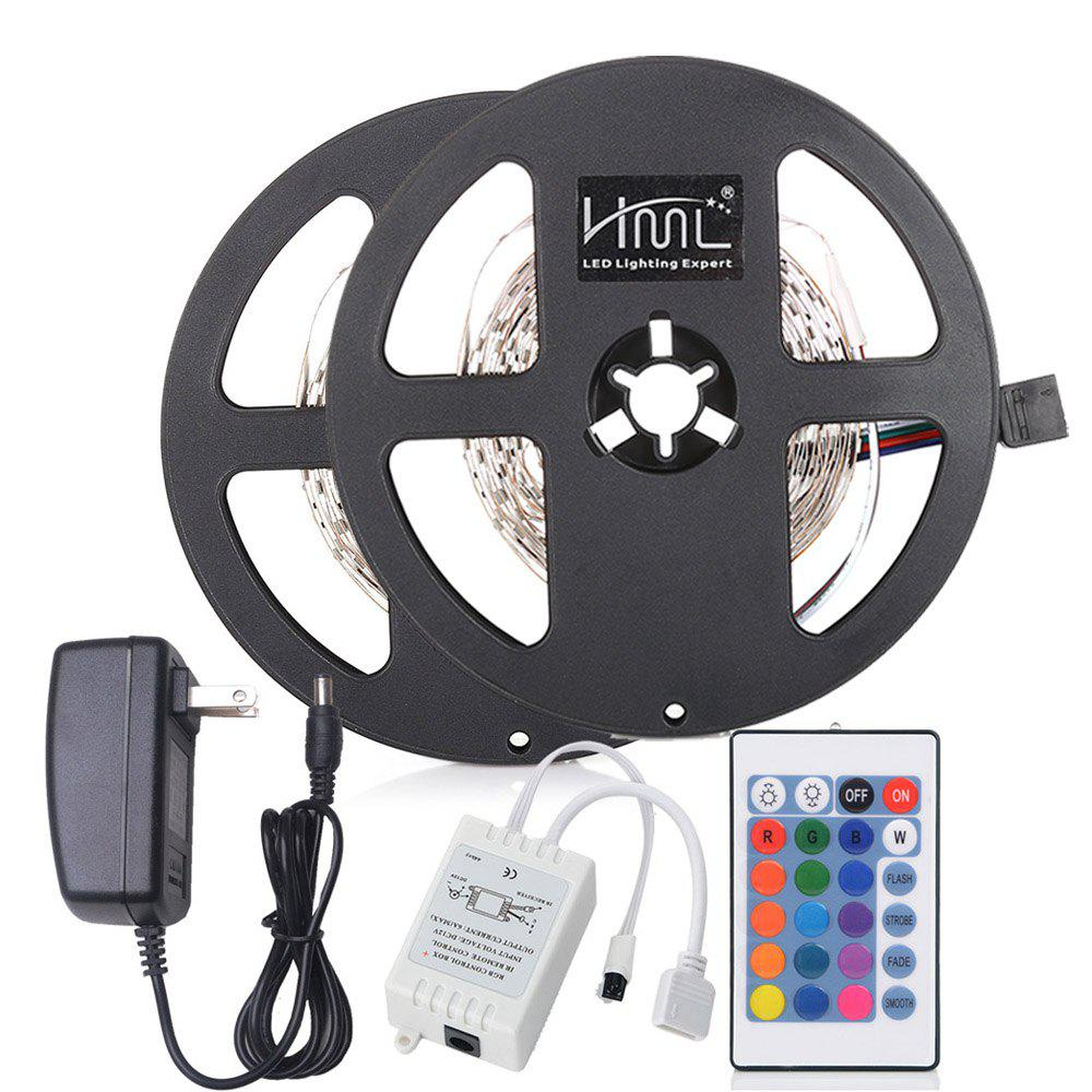 Outfits HML 5M 24W RGB SMD2835 300LEDs Strip Light with IR 24 Keys Remote Controller and DC Adapter 2PCS 100 - 240V