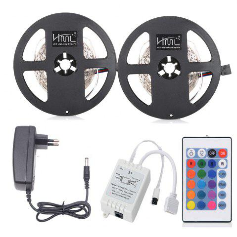 Latest HML 5M LED Strip Light 24W RGB SMD2835 300 LEDs 2pcs with IR 24 Keys Remote Control and DC Adapter(EU Plug)