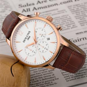 HOLUNS 4870 Fashion Calendar Waterproof Steel Band Men Quartz Watch with Box -