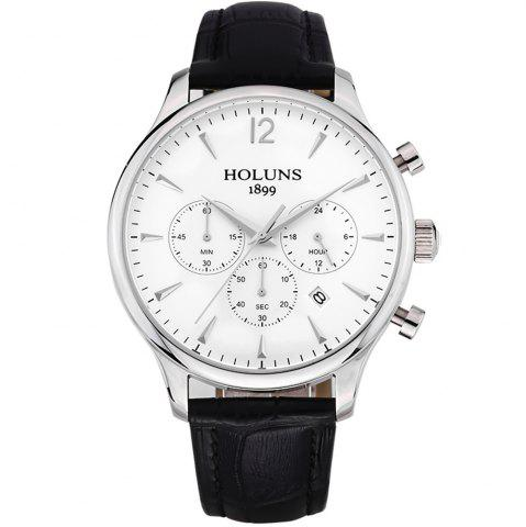 New HOLUNS 4870 Fashion Calendar Waterproof Steel Band Men Quartz Watch with Box