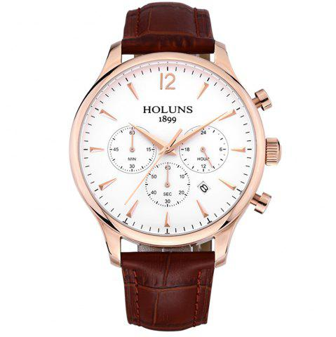 Unique HOLUNS 4870 Fashion Calendar Waterproof Steel Band Men Quartz Watch with Box