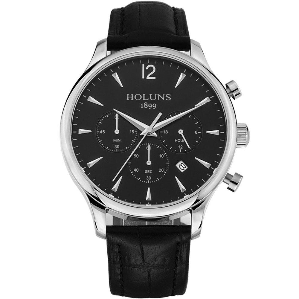 Trendy HOLUNS 4870 Fashion Calendar Waterproof Steel Band Men Quartz Watch with Box
