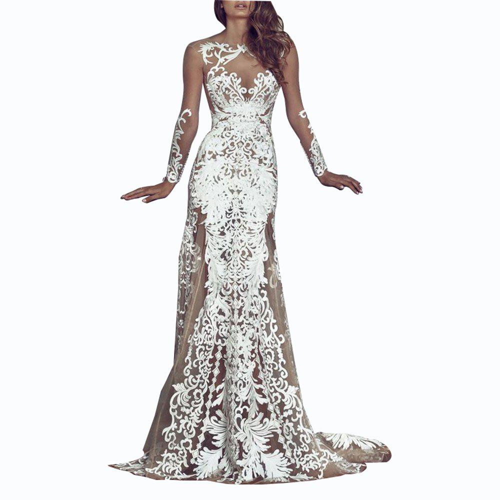 Sale Sexy Lace Hollow Out Evening Dress