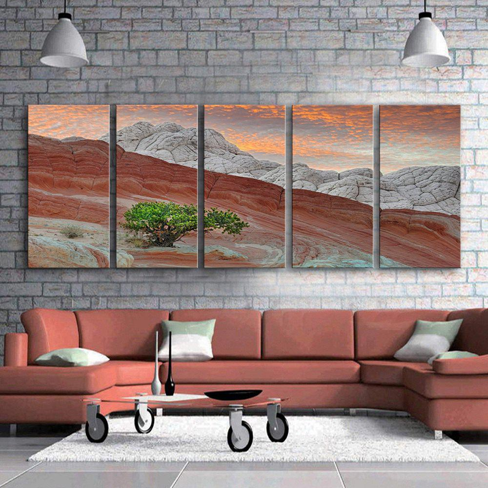 Shops Special Design Frameless Paintings Pink Mountain Pattern 5PCS