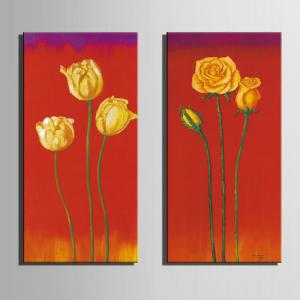 Special Design Frameless Paintings Lilies and Roses Pattern 2PCS -