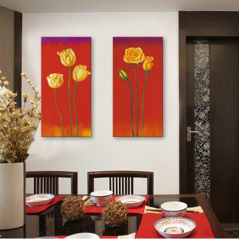 Sale Special Design Frameless Paintings Lilies and Roses Pattern 2PCS