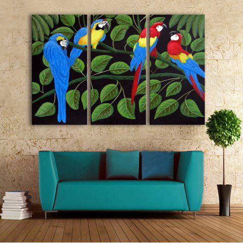 Outfits Special Design Frameless Paintings Colorful Parrot Pattern 3PCS