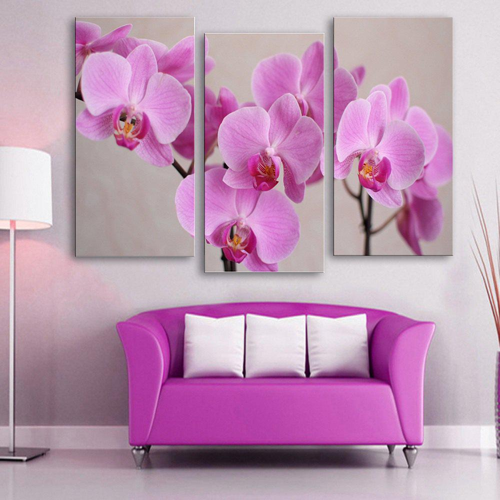 Discount Special Design Frameless Paintings 	Purple Flowers Pattern 3PCS