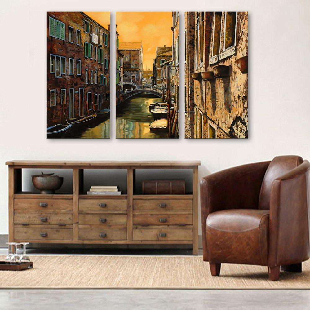 Chic Special Design Frameless Paintings Watery City Pattern 3PCS