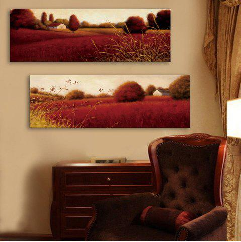 Best Special Design Frameless Paintings Red Field Pattern 2PCS