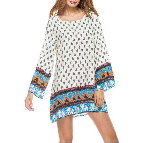 Chic Little Elephant Printing Retro Style Big Sleeves  Dress