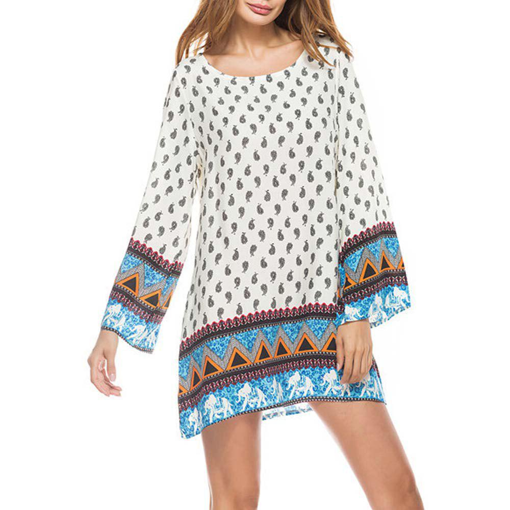 Unique Little Elephant Printing Retro Style Big Sleeves  Dress