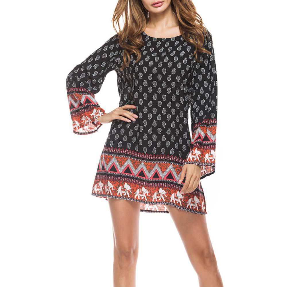 Best Little Elephant Printing Retro Style Big Sleeves  Dress