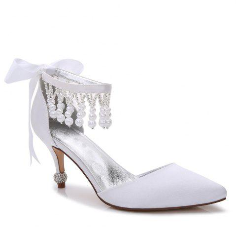 Discount 17767-18Women's Shoes Satin Spring Summer Basic Pump Comfort Ankle Strap Wedding Shoes Low Heel