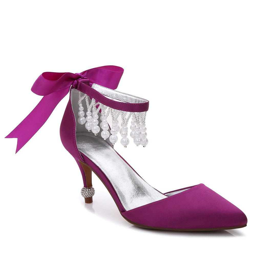 New 17767-18Women's Shoes Satin Spring Summer Basic Pump Comfort Ankle Strap Wedding Shoes Low Heel
