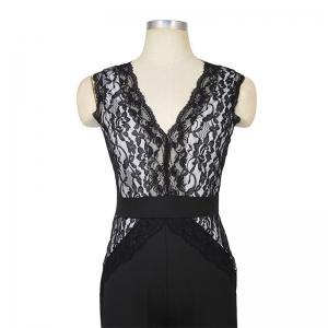 Women's Deep V-Neck Lace Stitching Sleeveless Sexy Jumpsuit -