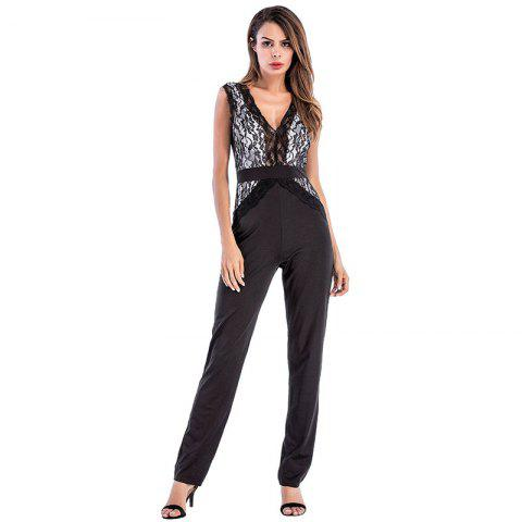 Trendy Women's Deep V-Neck Lace Stitching Sleeveless Sexy Jumpsuit